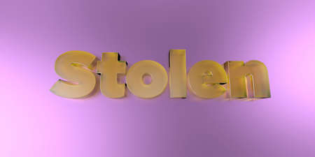 Stolen - colorful glass text on vibrant background - 3D rendered royalty free stock image. Stock Photo