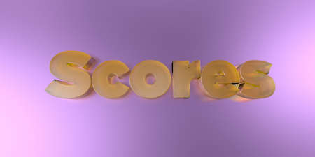 scores: Scores - colorful glass text on vibrant background - 3D rendered royalty free stock image. Stock Photo