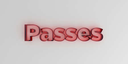 royalty free: Passes - Red glass text on white background - 3D rendered royalty free stock image. Stock Photo