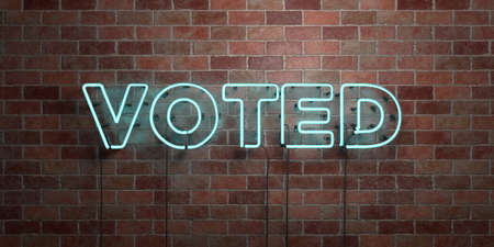 voted: VOTED - fluorescent Neon tube Sign on brickwork - Front view - 3D rendered royalty free stock picture. Can be used for online banner ads and direct mailers.