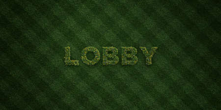 LOBBY - fresh Grass letters with flowers and dandelions - 3D rendered royalty free stock image. Can be used for online banner ads and direct mailers. Stock Photo