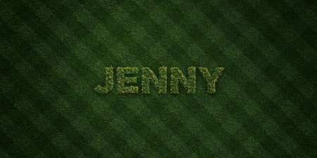 jenny: JENNY - fresh Grass letters with flowers and dandelions - 3D rendered royalty free stock image. Can be used for online banner ads and direct mailers. Stock Photo