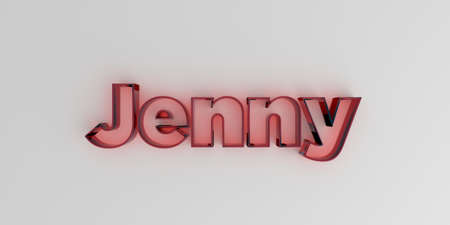 jenny: Jenny - Red glass text on white background - 3D rendered royalty free stock image.