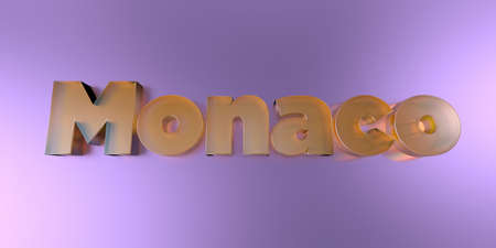 Monaco - colorful glass text on vibrant background - 3D rendered royalty free stock image.