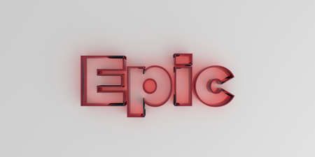 royalty free: Epic - Red glass text on white background - 3D rendered royalty free stock image.