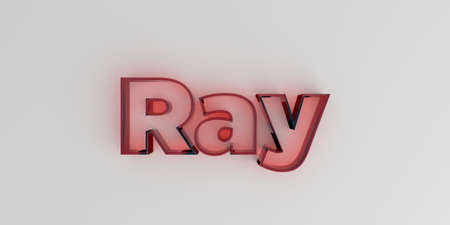 Ray - Red glass text on white background - 3D rendered royalty free stock image. Stock Photo