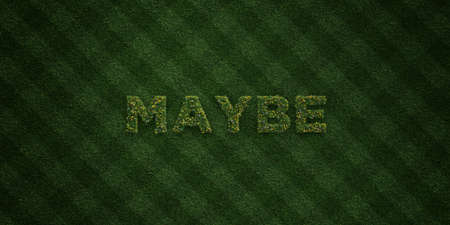 maybe: MAYBE - fresh Grass letters with flowers and dandelions - 3D rendered royalty free stock image. Can be used for online banner ads and direct mailers.