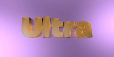 Ultra - colorful glass text on vibrant background - 3D rendered royalty free stock image.