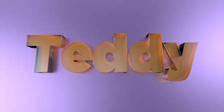 Teddy - colorful glass text on vibrant background - 3D rendered royalty free stock image. Stock Photo