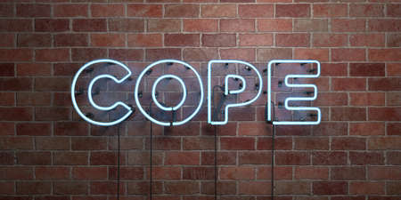 COPE - fluorescent Neon tube Sign on brickwork - Front view - 3D rendered royalty free stock picture. Can be used for online banner ads and direct mailers.