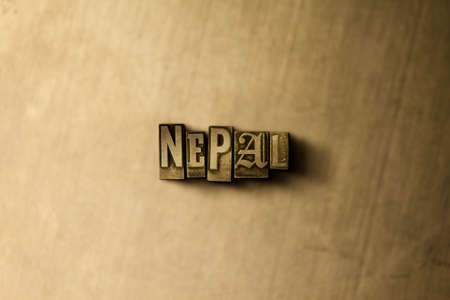 NEPAL - close-up of grungy vintage typeset word on metal backdrop. Royalty free stock illustration.  Can be used for online banner ads and direct mail. Фото со стока - 72832236