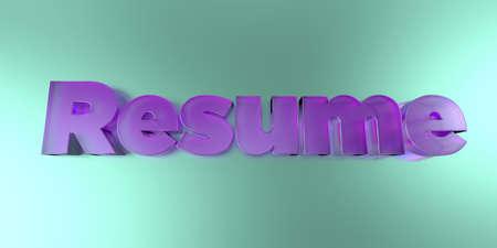 이력서 - 활기찬 배경에 다채로운 유리 텍스트 -3D 렌더링 로열티 무료 재고 이미지.