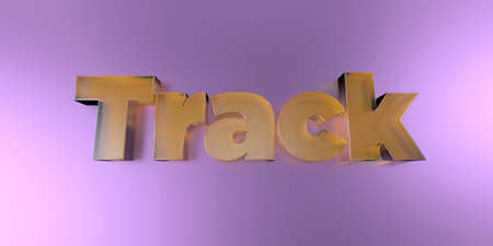 Track - colorful glass text on vibrant background - 3D rendered royalty free stock image.