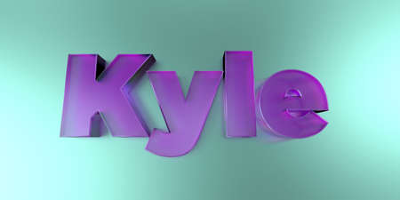 kyle: Kyle - colorful glass text on vibrant background - 3D rendered royalty free stock image.