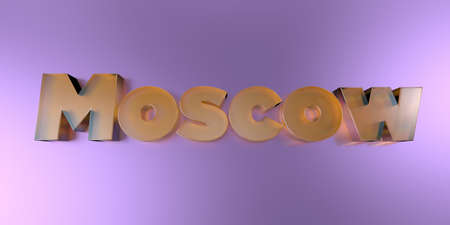 Moscow - colorful glass text on vibrant background - 3D rendered royalty free stock image.