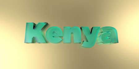 kenya: Kenya - colorful glass text on vibrant background - 3D rendered royalty free stock image. Stock Photo