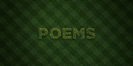 poems: POEMS - fresh Grass letters with flowers and dandelions - 3D rendered royalty free stock image. Can be used for online banner ads and direct mailers. Stock Photo