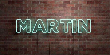 마틴 - 형광 네온 튜브 brickwork 전면보기 - 3D 렌더링 된 로열티 프리 스톡 사진을. 온라인 배너 광고 및 다이렉트 메일러에 사용할 수 있습니다. 스톡 콘텐츠