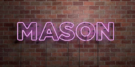 MASON - 형광등 네온 튜브 brickwork 전면보기 - 3D 렌더링 된 로열티 프리 스톡 사진을. 온라인 배너 광고 및 다이렉트 메일러에 사용할 수 있습니다. 스톡 콘텐츠