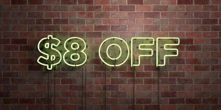 $ 8 OFF - 형광등 네온 튜브 brickwork에 서명 - 전면보기 - 3D 렌더링 된 로열티 프리 스톡 사진. 온라인 배너 광고 및 다이렉트 메일러에 사용할 수 있습니다 스톡 콘텐츠