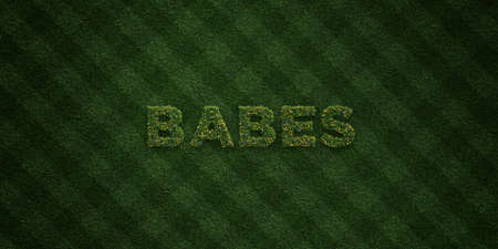 babes: BABES - fresh Grass letters with flowers and dandelions - 3D rendered royalty free stock image. Can be used for online banner ads and direct mailers.