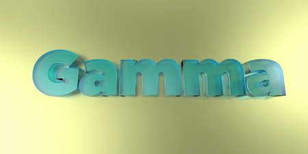 Gamma - colorful glass text on vibrant background - 3D rendered royalty free stock image.