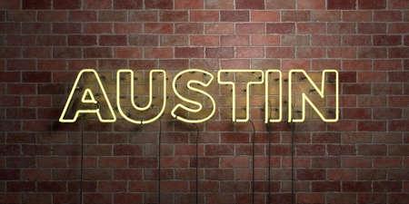 오스틴 - 형광 네온 튜브 brickwork 전면보기 - 3D 렌더링 된 로열티 프리 스톡 사진을. 온라인 배너 광고 및 다이렉트 메일러에 사용할 수 있습니다. 스톡 콘텐츠