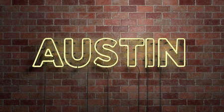AUSTIN - fluorescent Neon tube Sign on brickwork - Front view - 3D rendered royalty free stock picture. Can be used for online banner ads and direct mailers.