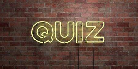 QUIZ - fluorescencyjny Neon tubka Znak na brickwork - Frontowy widok - 3D odpłacający się królewskość bezpłatny akcyjny obrazek. Może być stosowany do banerów online i direct mailerów.