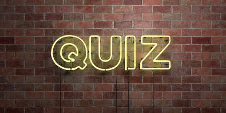 QUIZ - fluorescent Neon tube Sign on brickwork - Front view - 3D rendered royalty free stock picture. Can be used for online banner ads and direct mailers.
