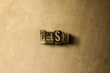 letterpress type: CASH - close-up of grungy vintage typeset word on metal backdrop. Royalty free stock illustration.  Can be used for online banner ads and direct mail. Stock Photo