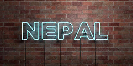 NEPAL - fluorescent Neon tube Sign on brickwork - Front view - 3D rendered royalty free stock picture. Can be used for online banner ads and direct mailers. Фото со стока - 72860484