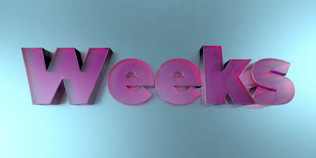 Weeks - colorful glass text on vibrant background - 3D rendered royalty free stock image.