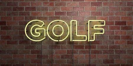 골프 - 형광등 네온 튜브 brickwork - 전면보기 - 3D 렌더링 로그인 로열티 프리 스톡 사진을 하나. 온라인 배너 광고 및 다이렉트 메일러에 사용할 수 있습