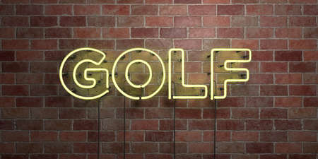 GOLF - fluorescent Neon tube Sign on brickwork - Front view - 3D rendered royalty free stock picture. Can be used for online banner ads and direct mailers. Stock Photo