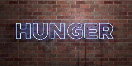 HUNGER - fluorescent Neon tube Sign on brickwork - Front view - 3D rendered royalty free stock picture. Can be used for online banner ads and direct mailers. Stock Photo