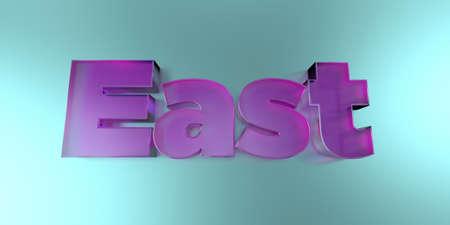 동쪽 - 활기찬 배경에 다채로운 유리 텍스트 -3D 렌더링 로열티 무료 재고 이미지.