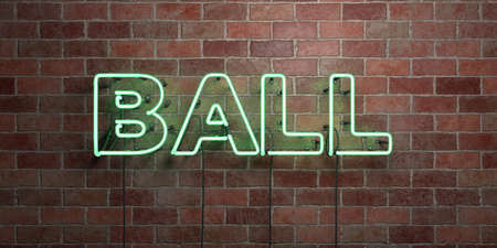 BALL - fluorescent Neon tube Sign on brickwork - Front view - 3D rendered royalty free stock picture. Can be used for online banner ads and direct mailers.