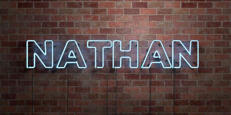 NATHAN - fluorescent Neon tube Sign on brickwork - Front view - 3D rendered royalty free stock picture. Can be used for online banner ads and direct mailers.
