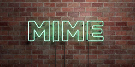 MIME - fluorescent Neon tube Sign on brickwork - Front view - 3D rendered royalty free stock picture. Can be used for online banner ads and direct mailers.