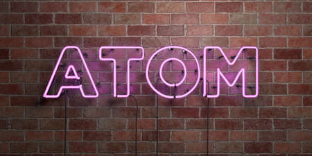 ATOM - fluorescent Neon tube Sign on brickwork - Front view - 3D rendered royalty free stock picture. Can be used for online banner ads and direct mailers.