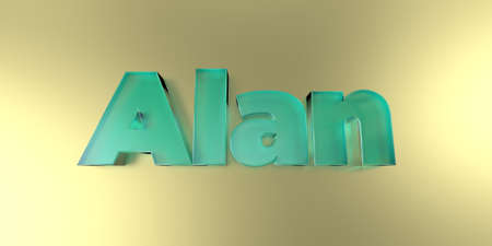 Alan - colorful glass text on vibrant background - 3D rendered royalty free stock image.