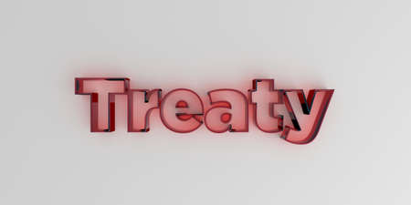 treaty: Treaty - Red glass text on white background - 3D rendered royalty free stock image.