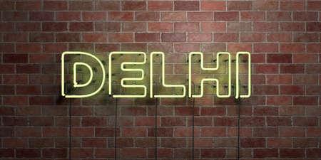 델리 - 형광 네온 튜브 brickwork 전면보기 - 3D 렌더링 된 로열티 프리 스톡 사진을. 온라인 배너 광고 및 다이렉트 메일러에 사용할 수 있습니다. 스톡 콘텐츠