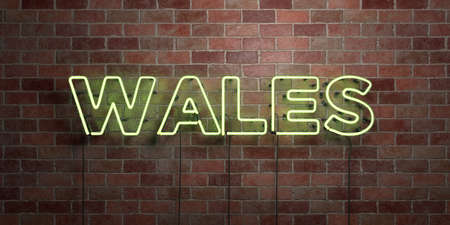 WALES - fluorescent Neon tube Sign on brickwork - Front view - 3D rendered royalty free stock picture. Can be used for online banner ads and direct mailers. Stock Photo