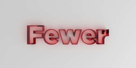 fewer: Fewer - Red glass text on white background - 3D rendered royalty free stock image.