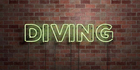 DIVING - fluorescent Neon tube Sign on brickwork - Front view - 3D rendered royalty free stock picture. Can be used for online banner ads and direct mailers.