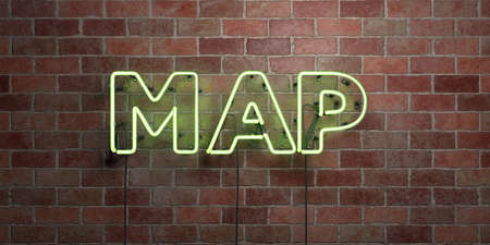 MAP - fluorescent Neon tube Sign on brickwork - Front view - 3D rendered royalty free stock picture. Can be used for online banner ads and direct mailers.