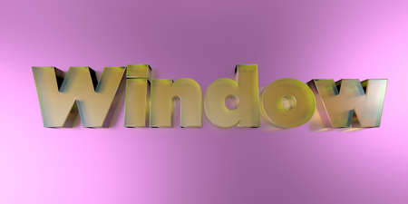 Window - colorful glass text on vibrant background - 3D rendered royalty free stock image.