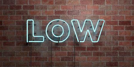 낮은 - 형광등 네온 튜브 brickwork 전면보기 - 3D 렌더링 된 로열티 프리 스톡 사진을. 온라인 배너 광고 및 다이렉트 메일러에 사용할 수 있습니다. 스톡 콘텐츠 - 73166382